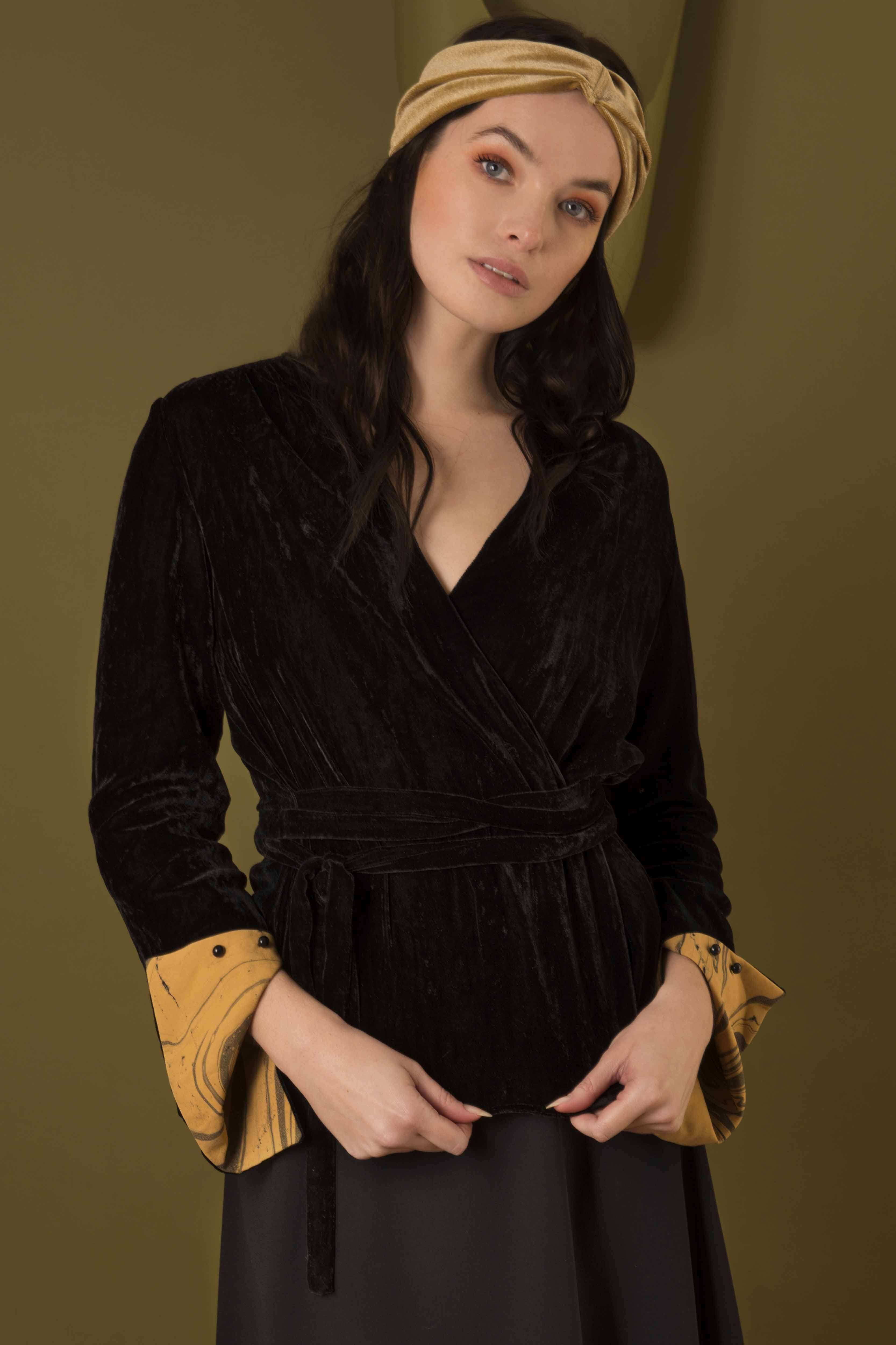 Silk Velvet Wrap Around Top by Edward Mongzar on curated-crowd.com