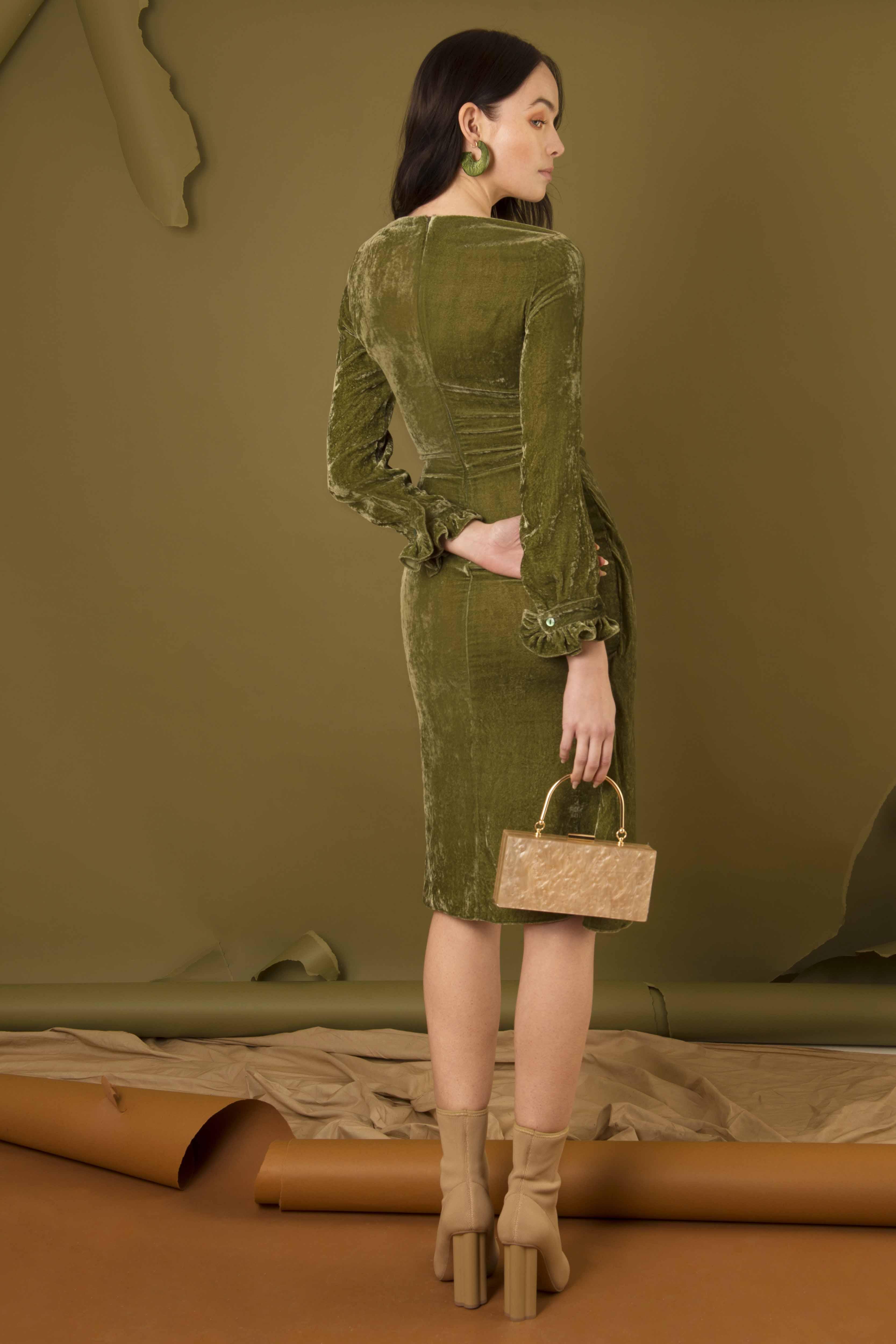 Silk Velvet Wrap Around Dress by Edward Mongzar on curated-crowd.com