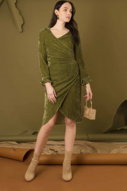 Silk Velvet Wrap Around Dress by Edward Mongzar on curated-crowd.com