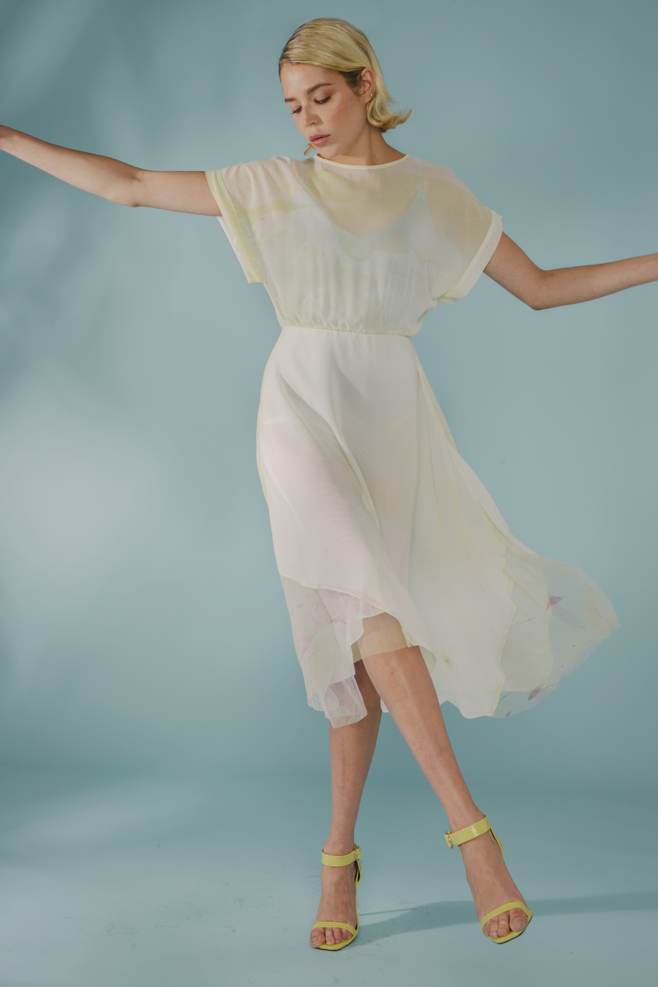 Hand Marble Dyed Panel Dress by Edward Mongzar on curated-crowd.com