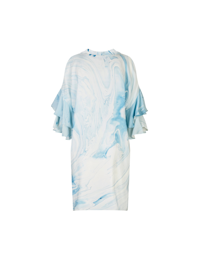 Marbled Bow Neck Tie Dress - Blue by Edward Mongzar on curated-crowd.com