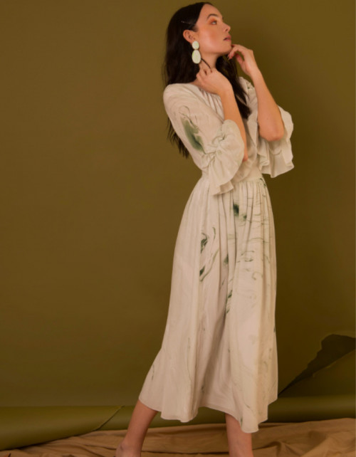 Marbled Gather Dress by Edward Mongzar on curated-crowd.com