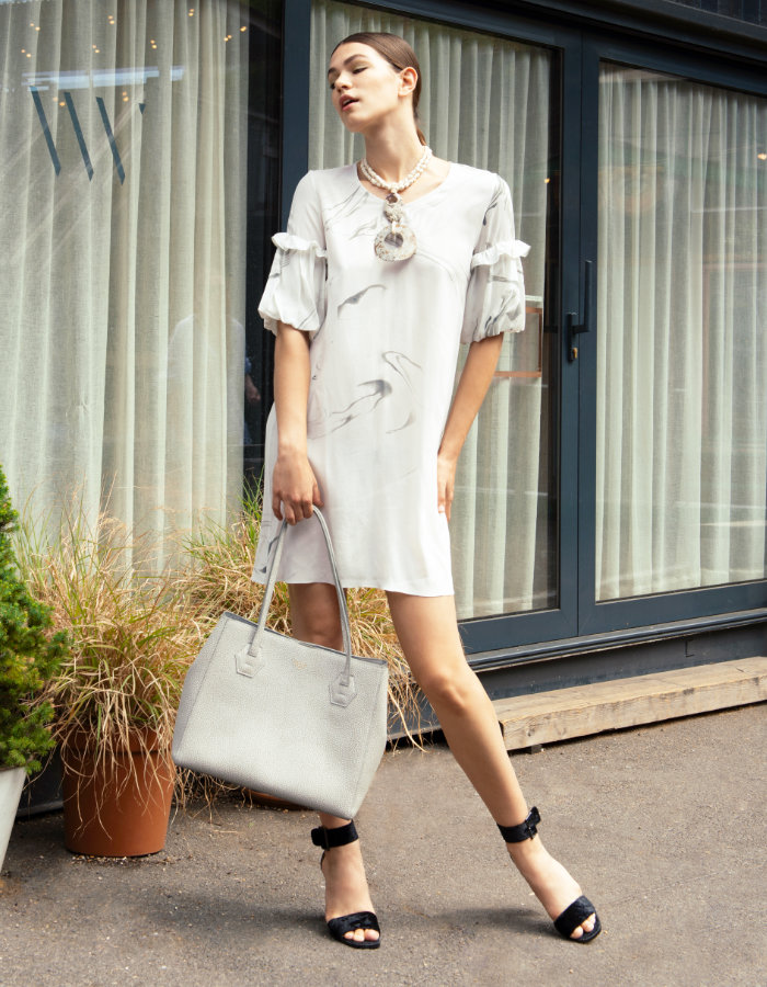 Marbled Tunic Dress by Edward Mongzar on curated-crowd.com