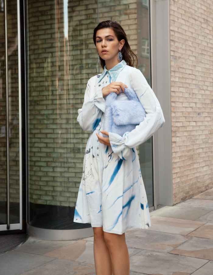 Hand Marbled Button Up Dress by Edward Mongzar on curated-crowd.com