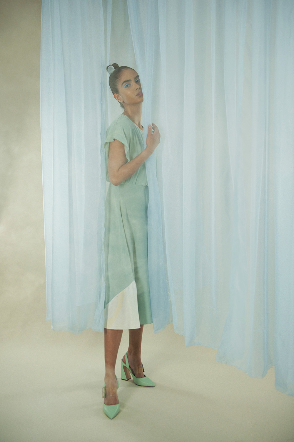 Hand Dyed Silk Misty Marbled Dress by Edward Mongzar on curated-crowd.com
