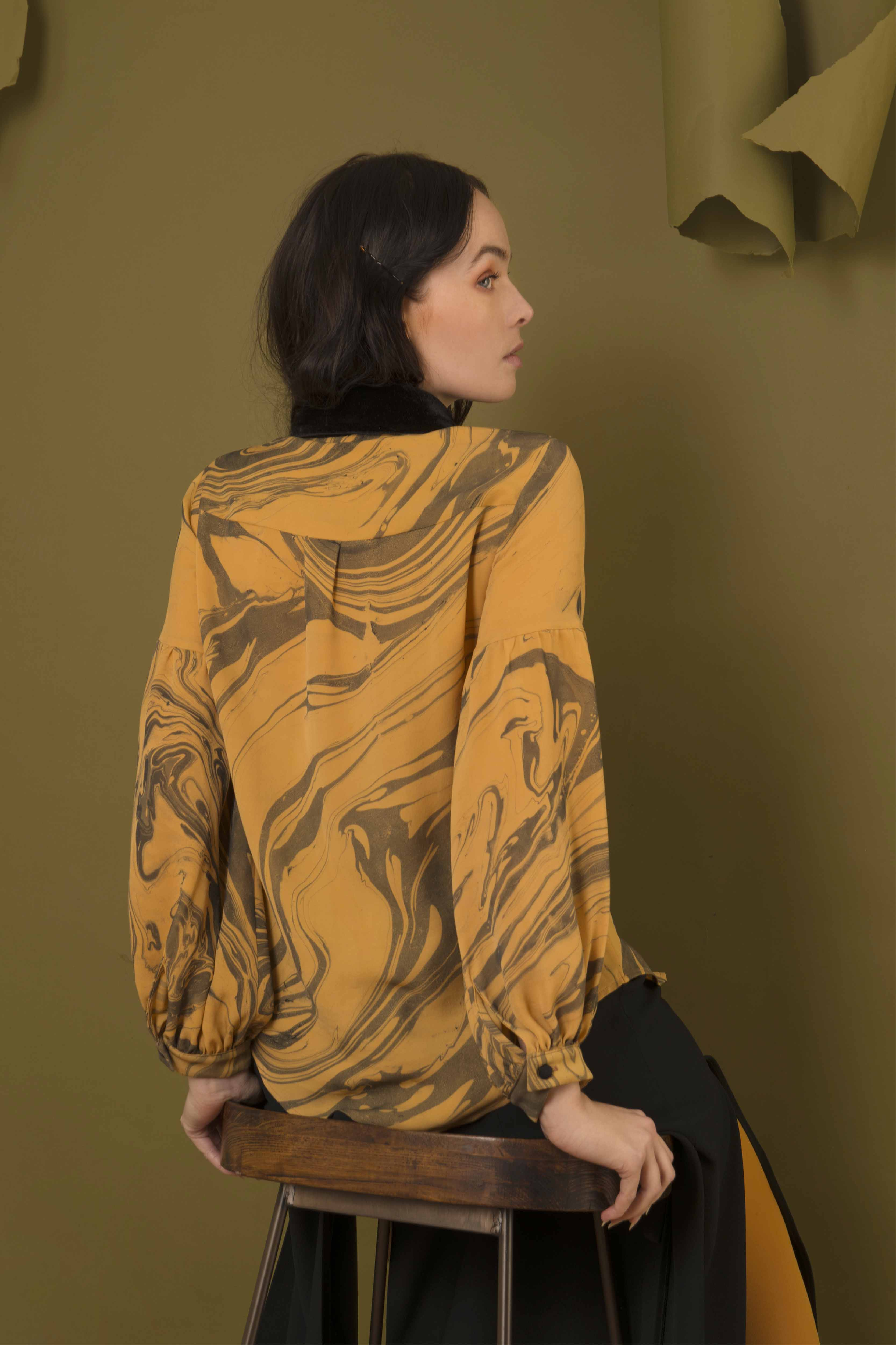 Hand Marble Dyed Silk Shirt - Orange & Black by Edward Mongzar on curated-crowd.com