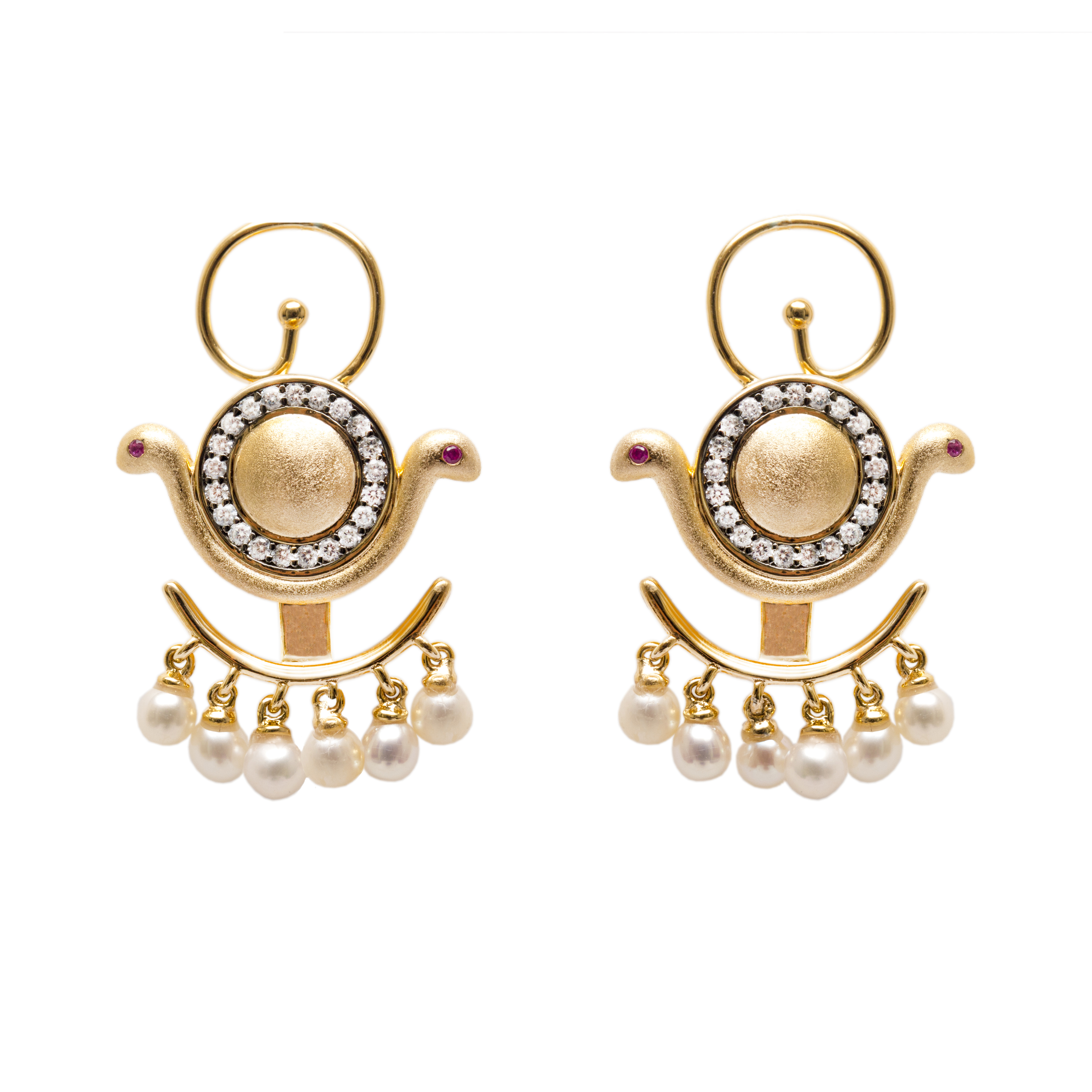 Goddess Wadjet Ear Jacket Earrings with Pearls by AMMANII on curated-crowd.com