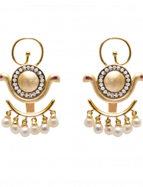 Goddess Wadjet Pearl Ear Jacket Earrings by AMMANII on curated-crowd.com