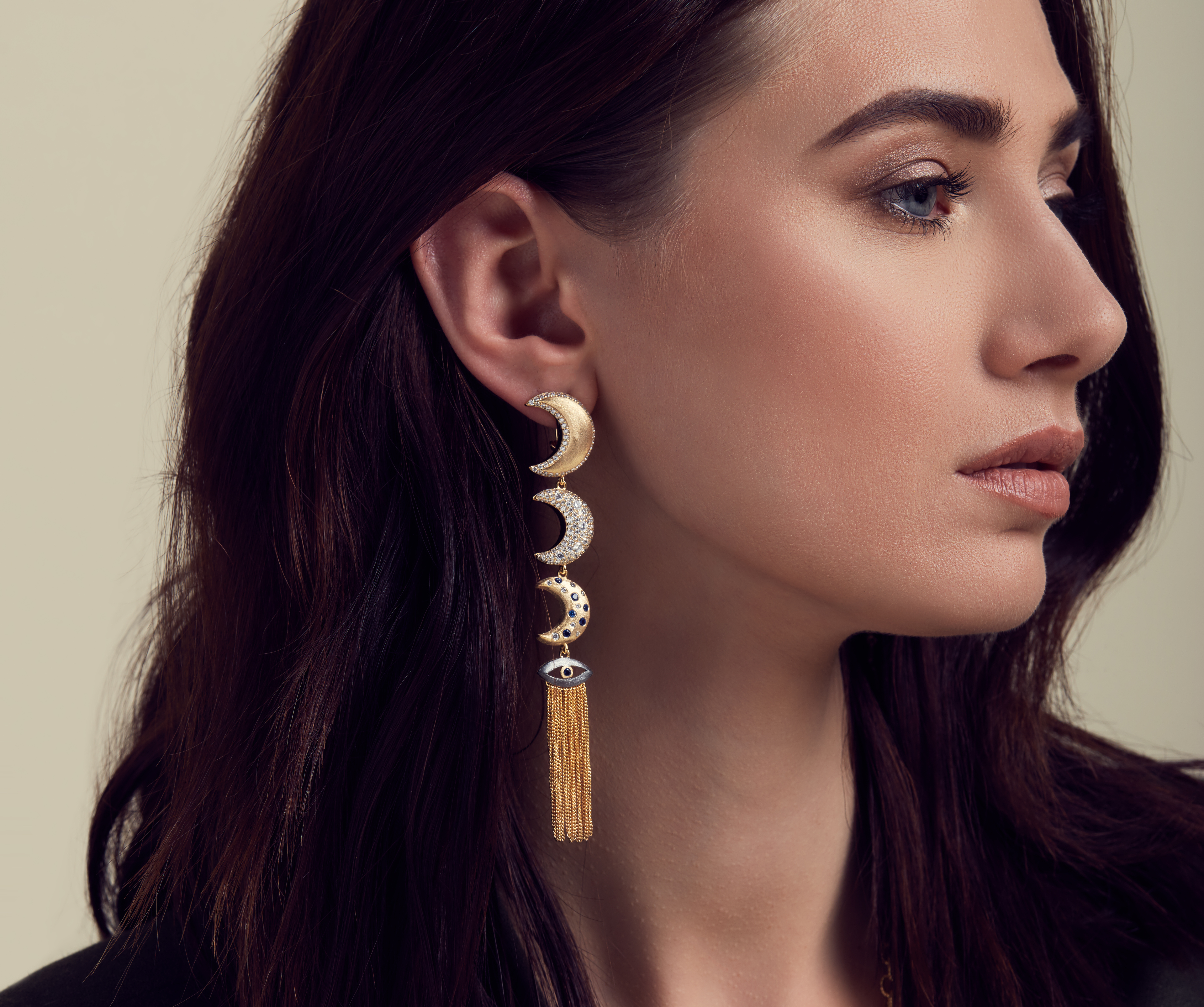 Linear Moons with Evil Eye Tassel Drop Earrings by AMMANII on curated-crowd.com