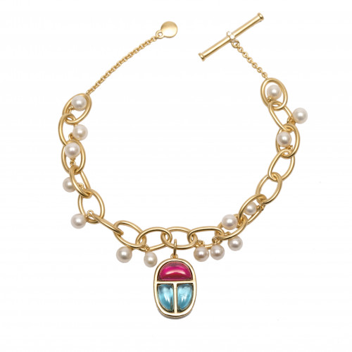 Scarab Amulet Charm and Pearls Link Bracelet by AMMANII on curated-crowd.com