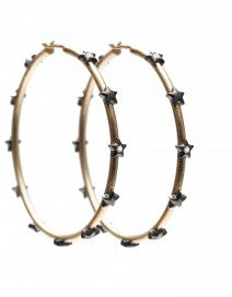 Large Hoop Studded Stars Earrings by AMMANII on curated-crowd.com