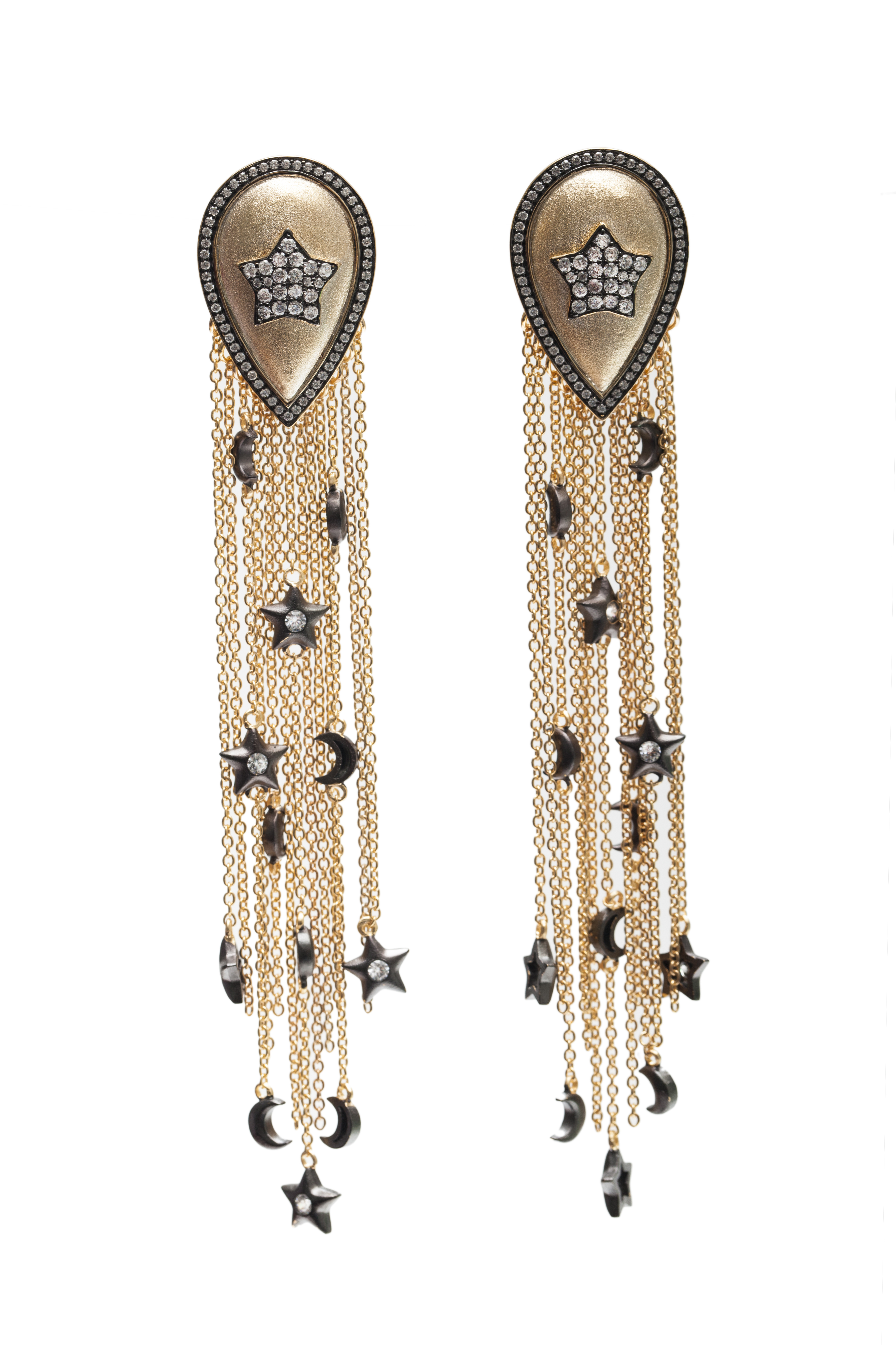 Pave Star Drop Earrings with Long Tassels and Charms by AMMANII on curated-crowd.com