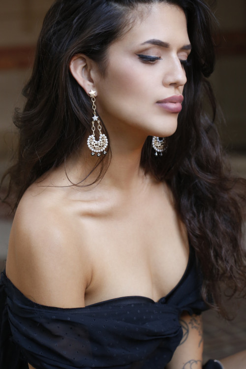 Moon and Pave Star Pearl Drop Statement Earrings by AMMANII on curated-crowd.com