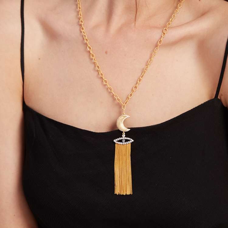 Evil Eye and Guardian Moon Tassels Necklace by AMMANII on curated-crowd.com