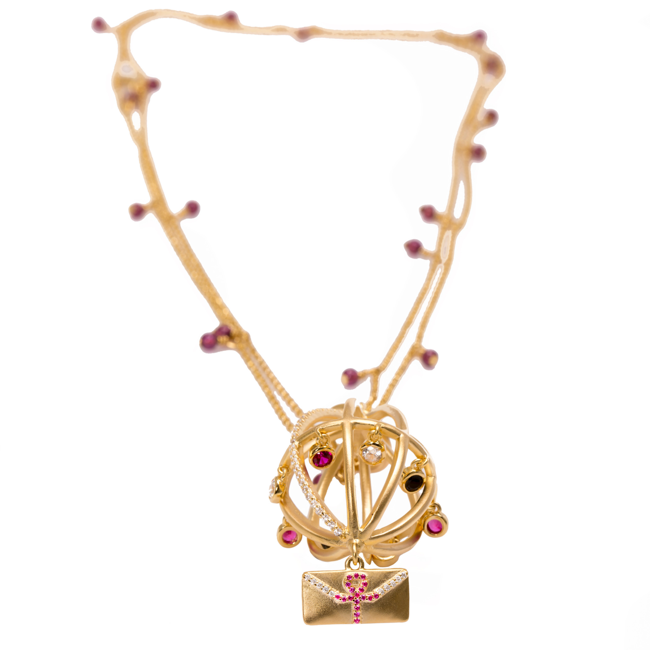 Ammanii Message of Peace Garnet Chain Necklace by AMMANII on curated-crowd.com