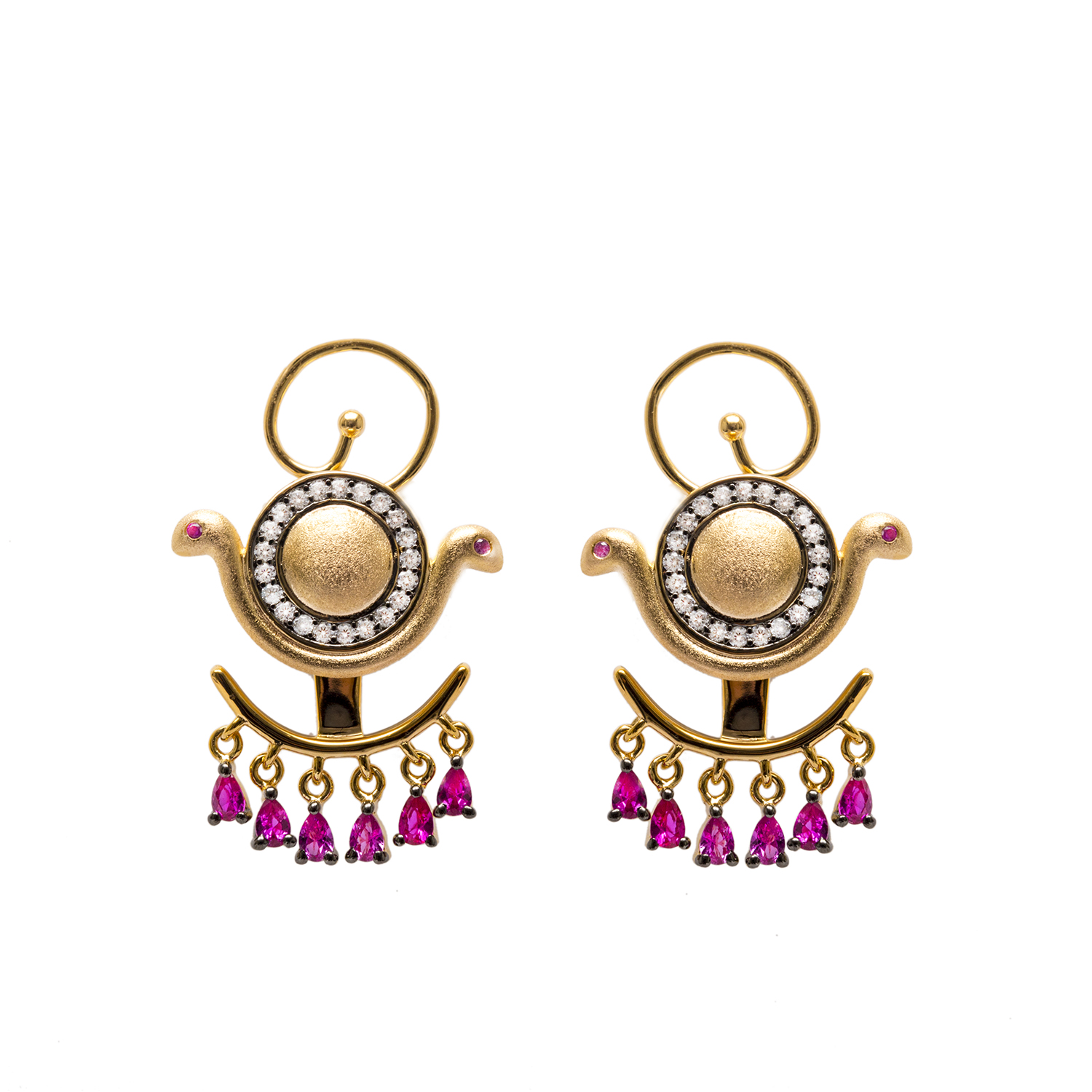 Goddess Wadjet Ear Jacket Earrings with Gemstones by AMMANII on curated-crowd.com