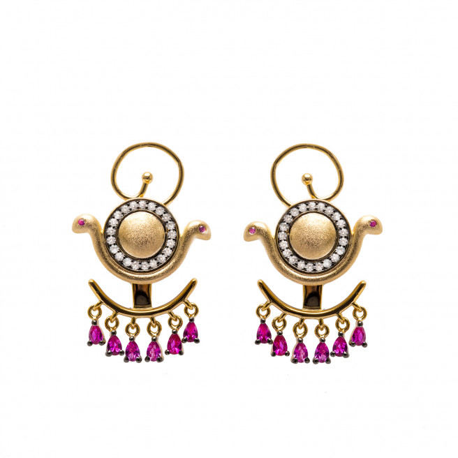 Goddess Wadjet Gemstones Ear Jacket Earrings by AMMANII on curated-crowd.com