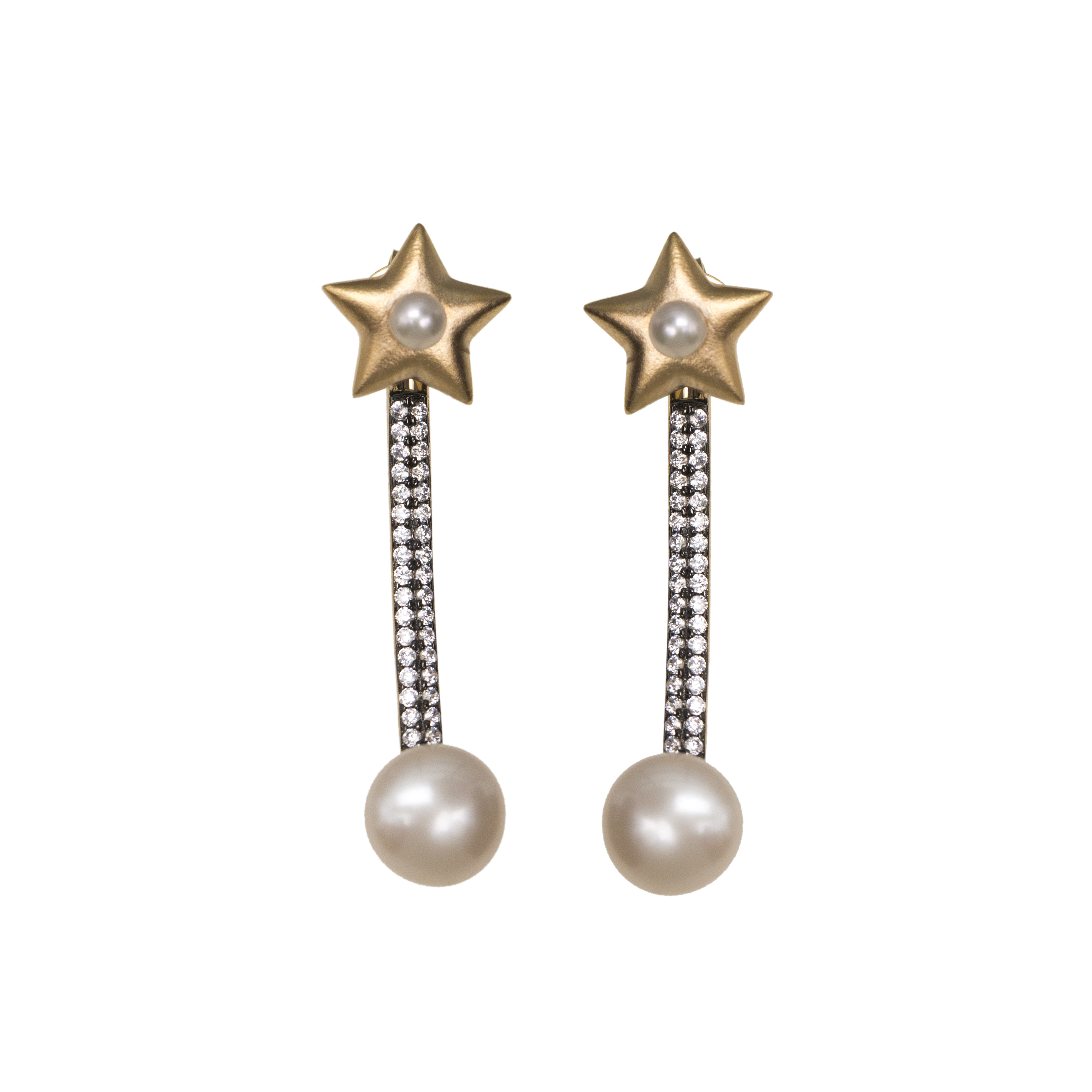 Star Jacket Earrings with Pearls and Zircon in Vermeil Gold by AMMANII on curated-crowd.com