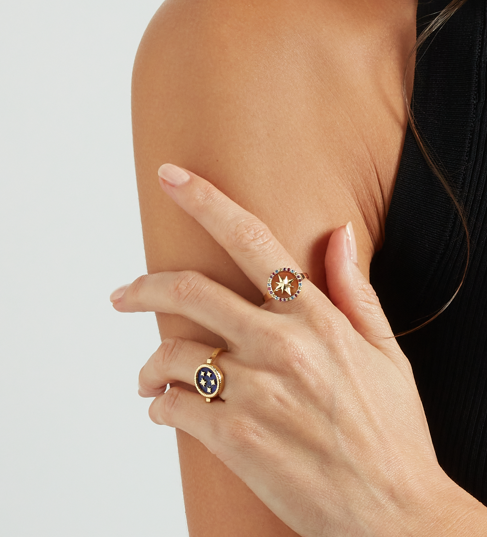 Nova Ring with Black Diamonds by Aveen on curated-crowd.com