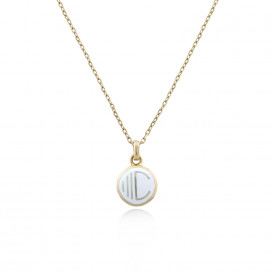 Alphabet 'C' Enamel Necklace in 18k Yellow Gold by Aveen on curated-crowd.com