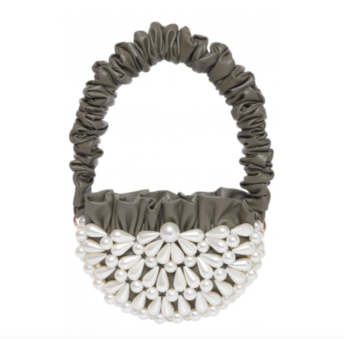 Solange Semi-round Pearl Embellished Baguette Bag Khaki Green by 0711 Tbilisi on curated-crowd.com
