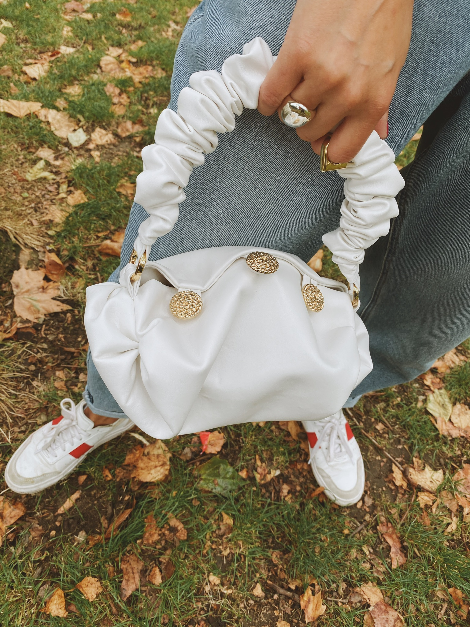 Nino White Wool Legan Leather Small Tote Bag by 0711 Tbilisi on curated-crowd.com