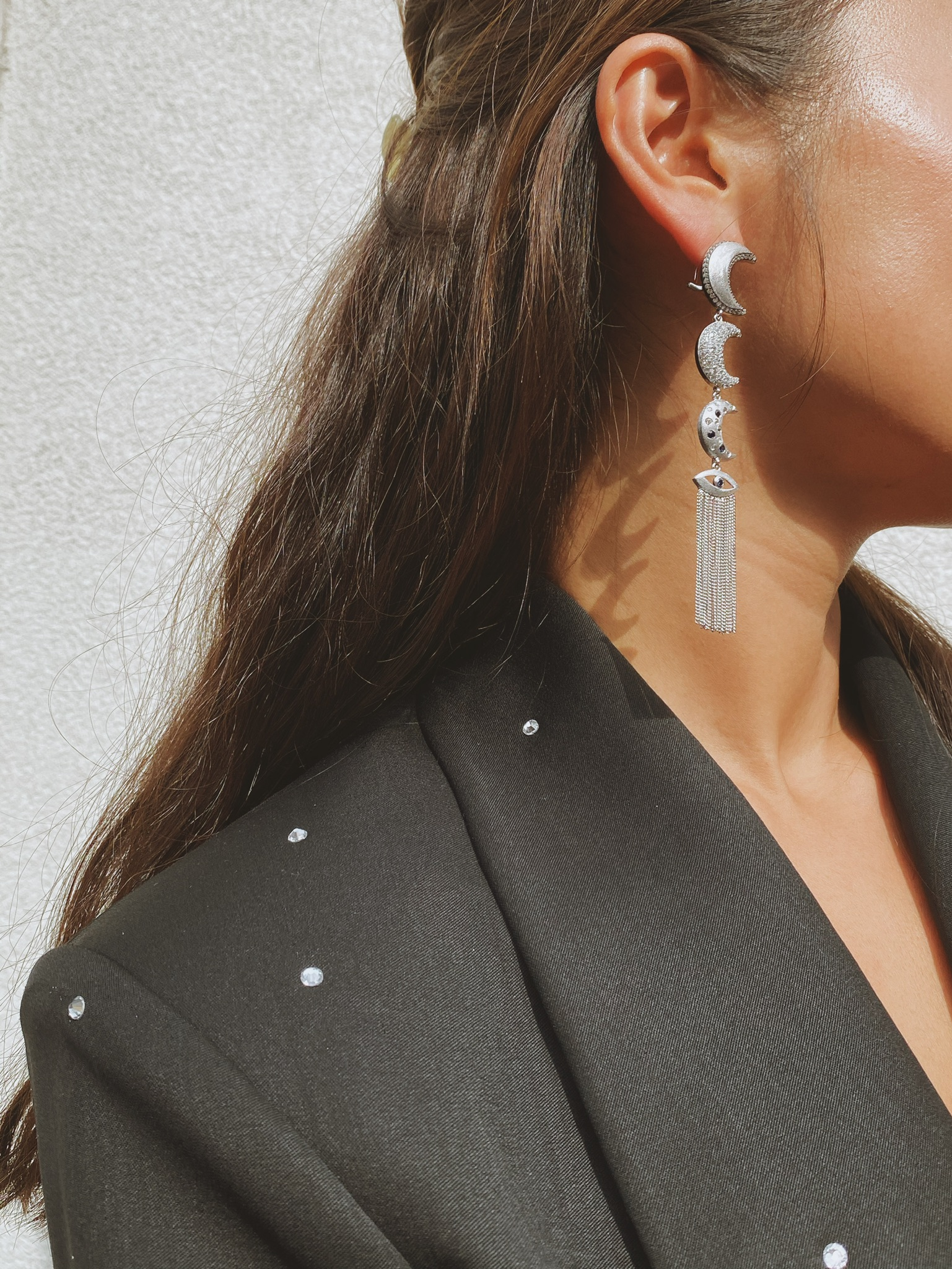 Linear Moons Earrings with Evil Eye Tassels by AMMANII on curated-crowd.com