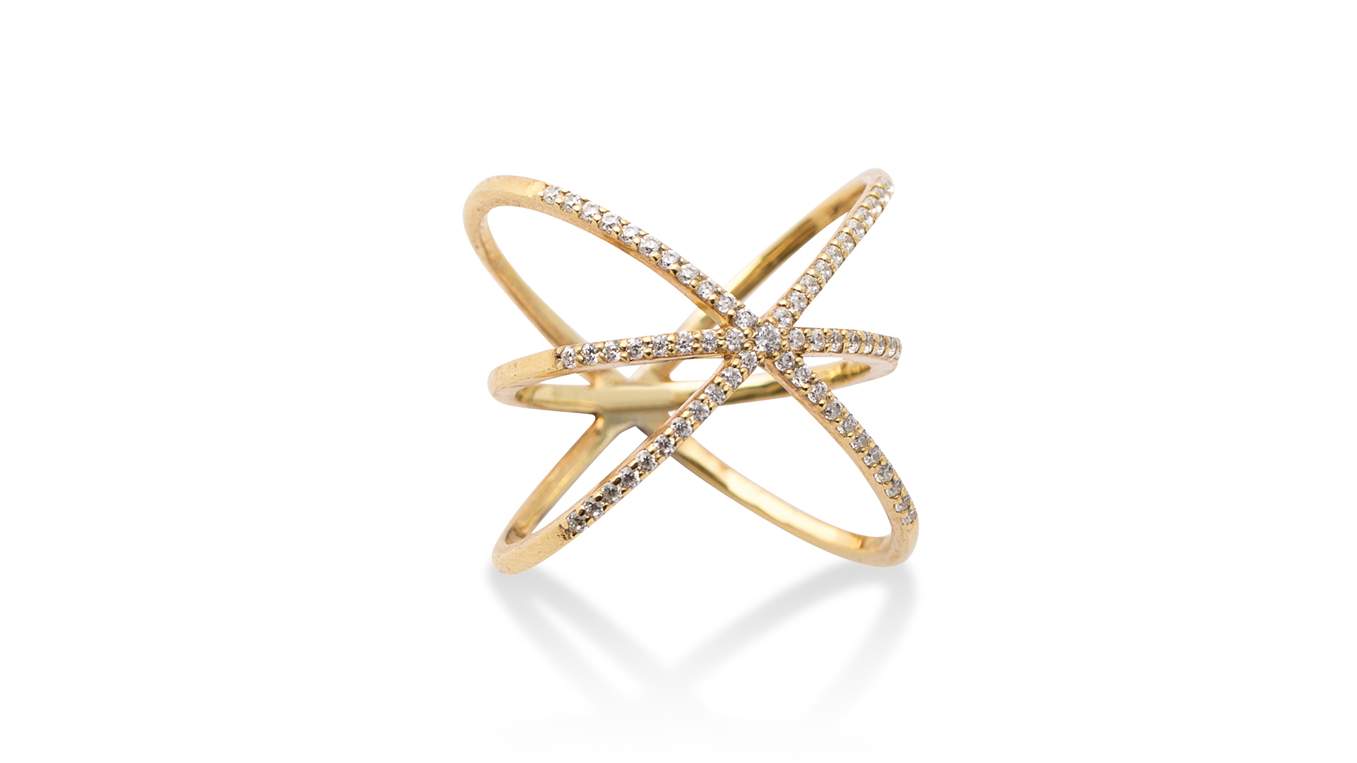 Kriss Kross Diamond Ring by Meher Jewellery on curated-crowd.com
