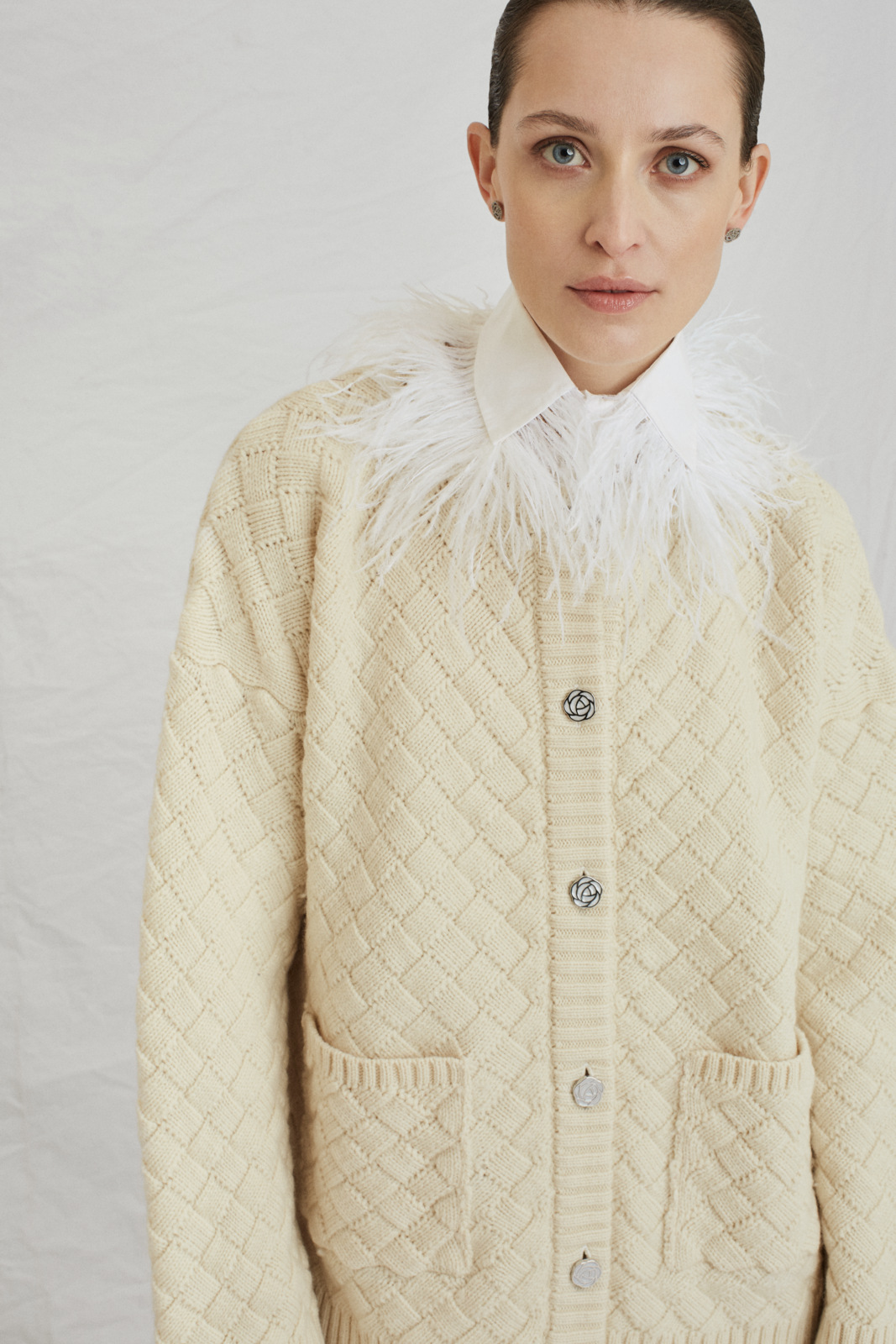 Clouded Squares Cardigan - Organic White by Ami Amalia on curated-crowd.com