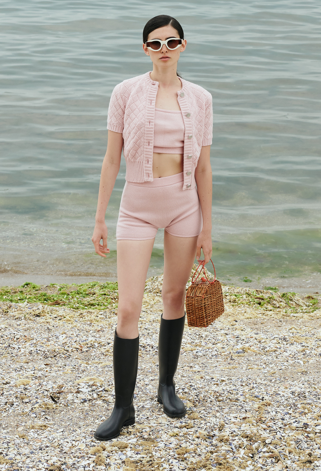 Clouded Squares Jacket (Short Sleeve Edition) - Soft Pink by Ami Amalia on curated-crowd.com
