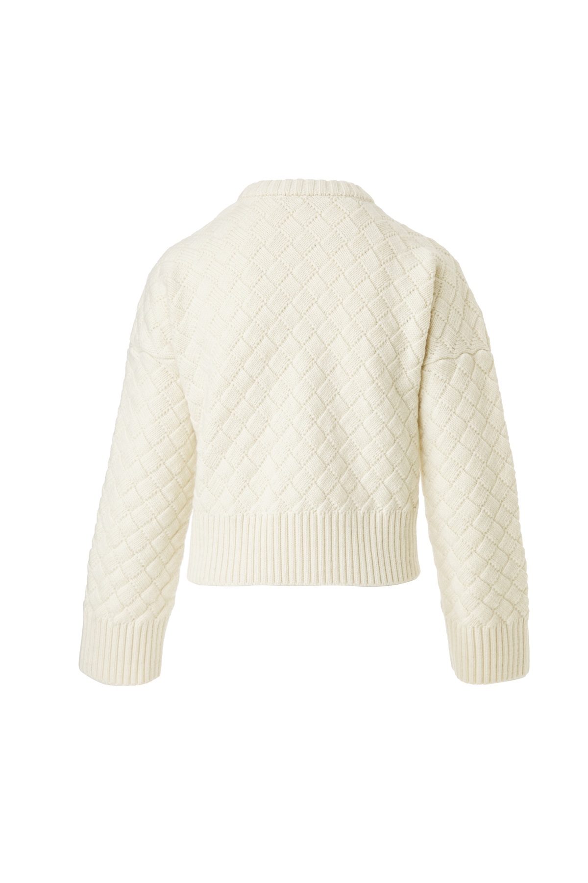 Clouded Squares Sweater (Waist Length Edition) - Organic White by Ami Amalia on curated-crowd.com