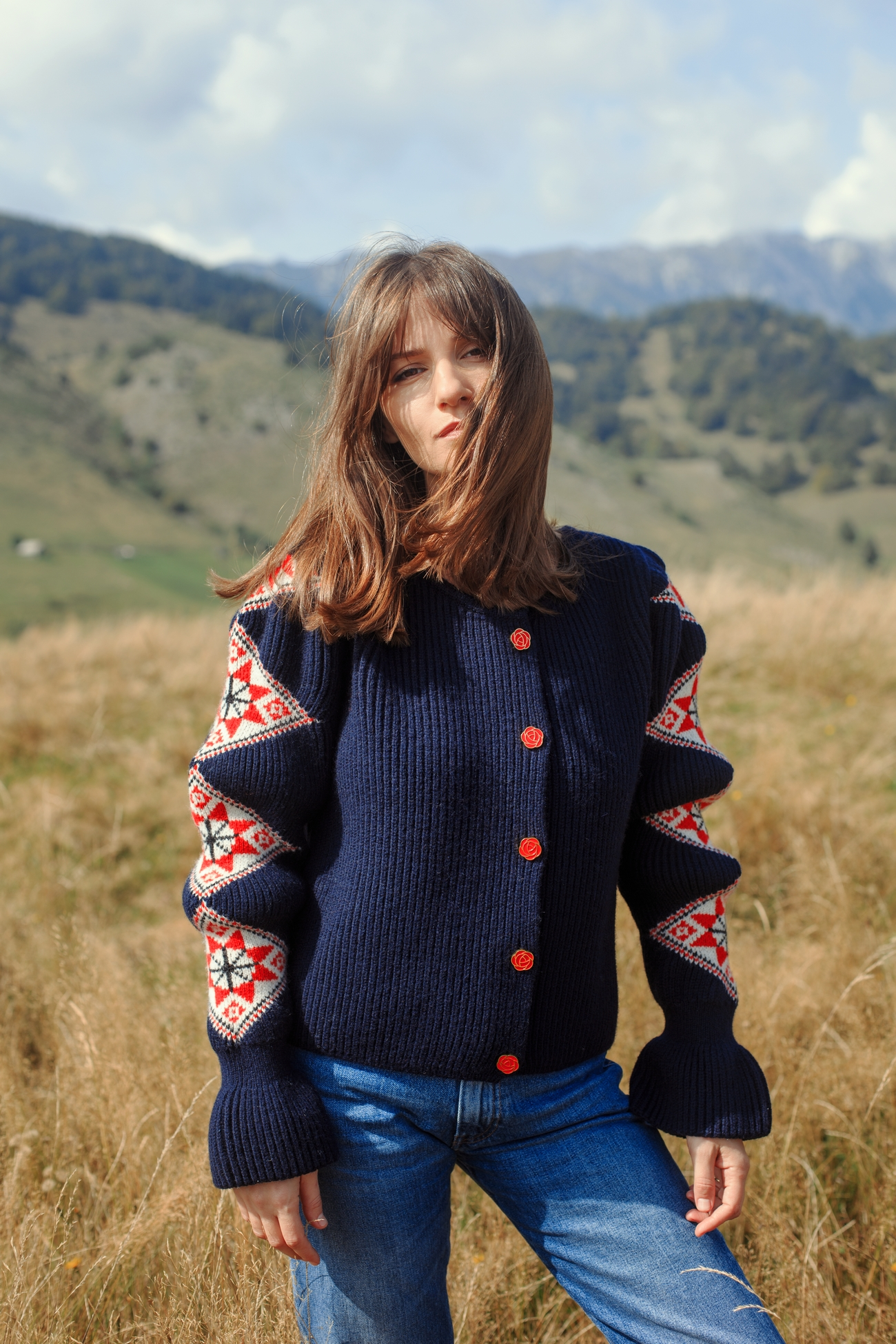 """Romanian Blouse"" Jacket - Navy by Ami Amalia on curated-crowd.com"