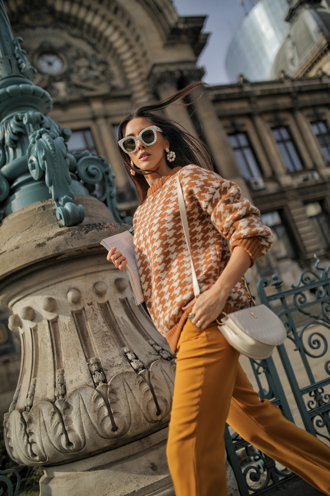 Houndstooth Sweater - Caramel and Cream by Ami Amalia on curated-crowd.com