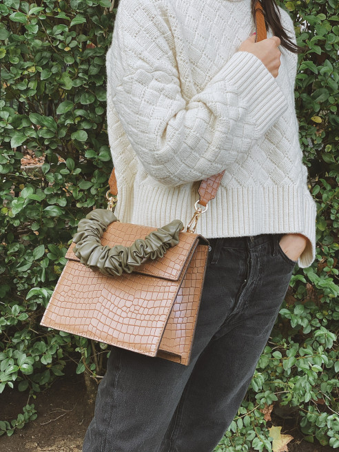Bea Caramel Brown Embossed Cowskin Flap Purse Bag - L by 0711 Tbilisi on curated-crowd.com