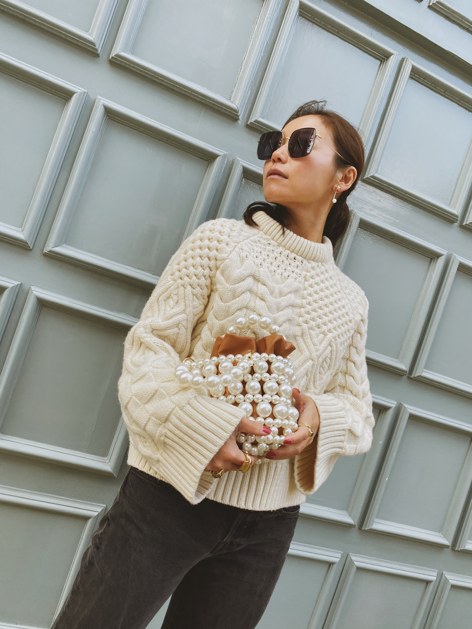 Tamar Bubble Camel Pearl Embellished Tote Bag by 0711 Tbilisi on curated-crowd.com