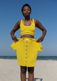 Clouded Squares Jacket (Short Sleeve Edition) - Yellow by Ami Amalia on curated-crowd.com