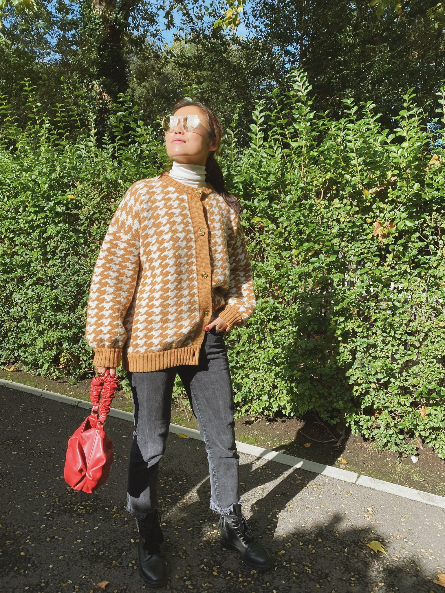 Houndstooth Jacket - Caramel and Cream by Ami Amalia on curated-crowd.com