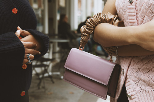 Ada Lilac Purple Flap Purse Bag With Beige Handle - S by 0711 Tbilisi on curated-crowd.com