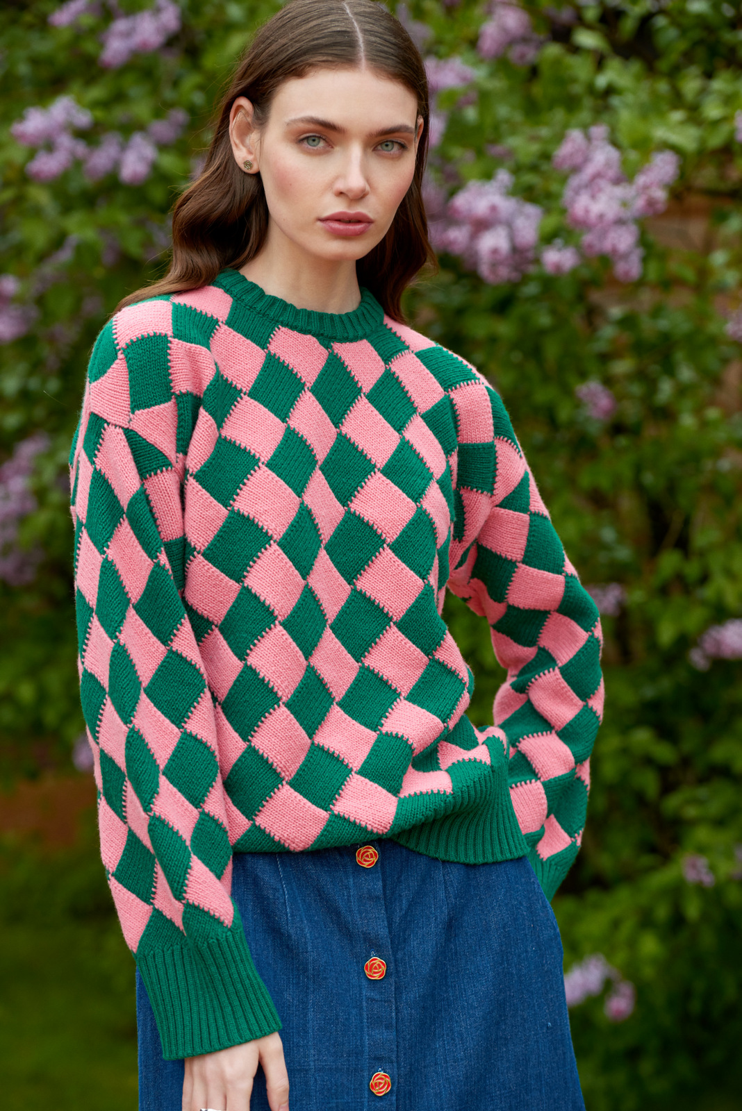 """Jeu de carrés"" Sweater - Royal Peony by Ami Amalia on curated-crowd.com"
