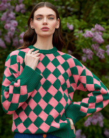 """Jeu de carrés"" Sweater - Royal Peony by Ami Amalia on curated-crowd.com"