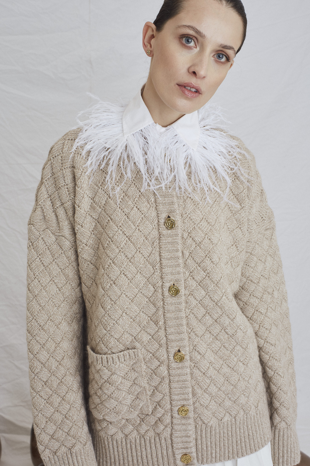 Clouded Squares Cardigan - Latte by Ami Amalia on curated-crowd.com