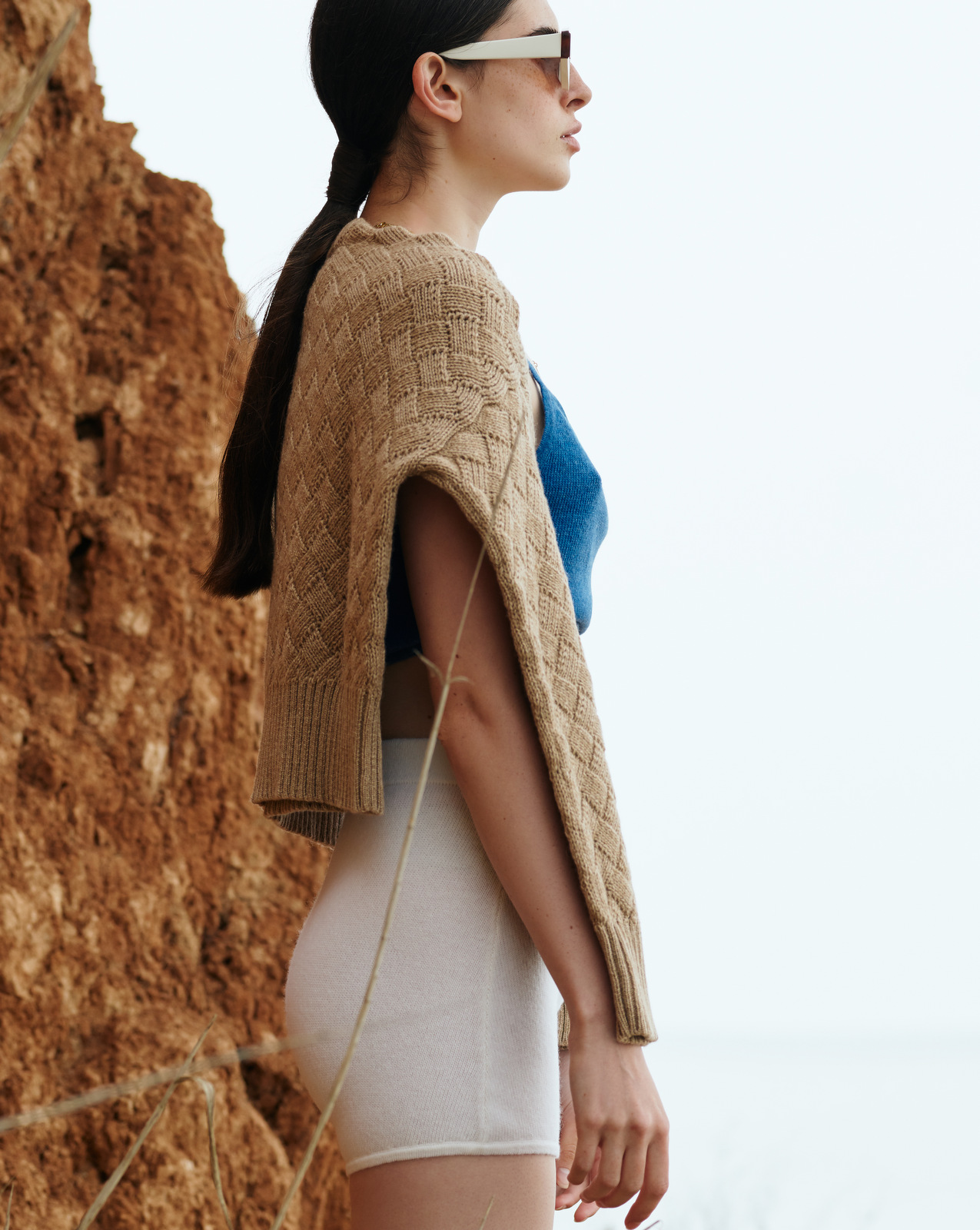 Clouded Squares Sweater (Waist Length Edition) - Natural Cashmere & Baby Camel by Ami Amalia on curated-crowd.com