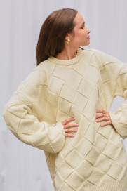 Square Big Chunky Sweater - Organic White by Ami Amalia on curated-crowd.com