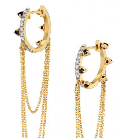 Small Black Diamond Hoops with Layering Chain by Meher Jewellery on curated-crowd.com