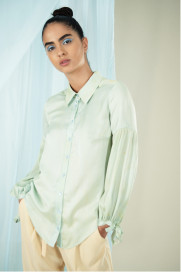 Hand Marbled Silk Satin Shirt - Duckegg by Edward Mongzar on curated-crowd.com