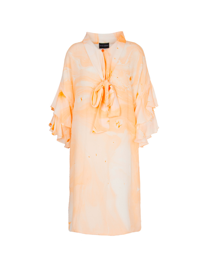 Marbled Bow Neck Tie Dress - Orange by Edward Mongzar on curated-crowd.com