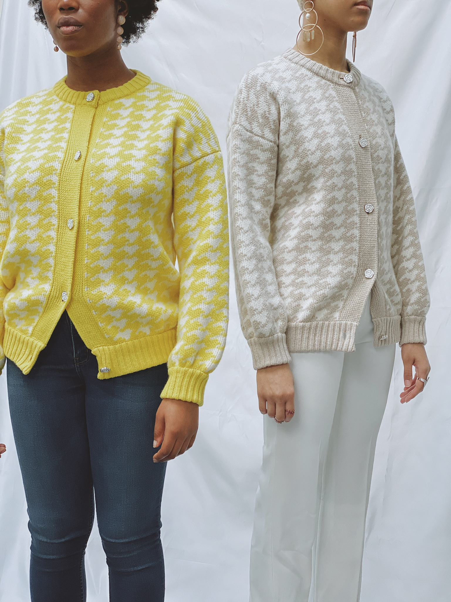 Houndstooth Jacket - Limoncello and Cream by Ami Amalia on curated-crowd.com