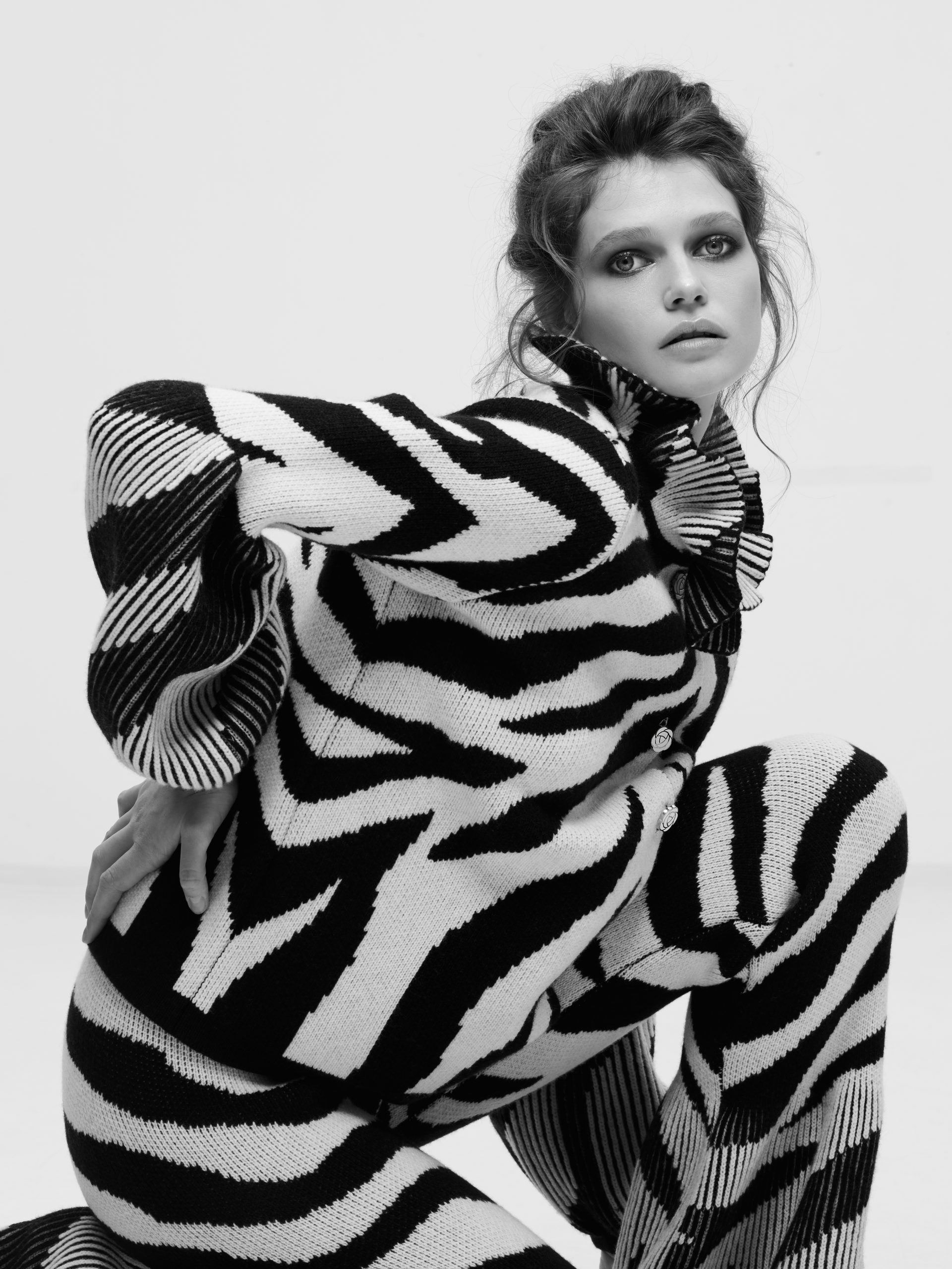 Zebra Knitted Jacket by Ami Amalia on curated-crowd.com