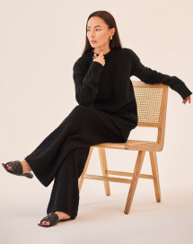 Clouded Squares Loungewear Suit - Black by Ami Amalia on curated-crowd.com