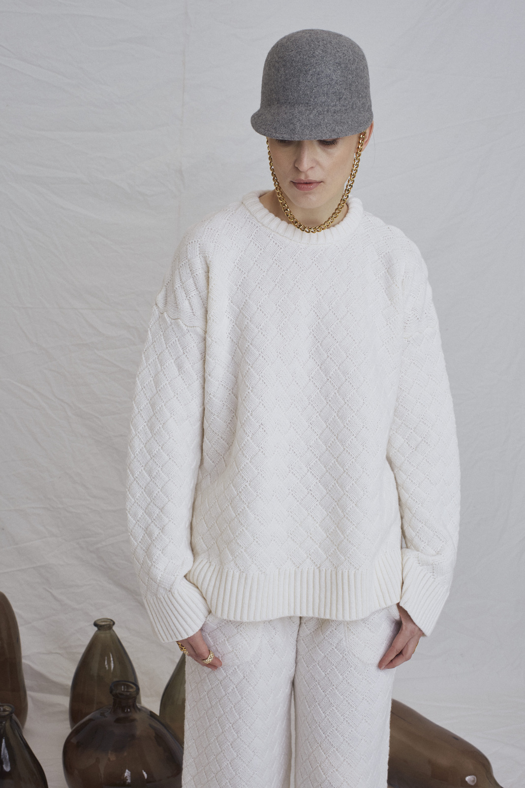 Clouded Squares Loungewear Suit - White by Ami Amalia on curated-crowd.com